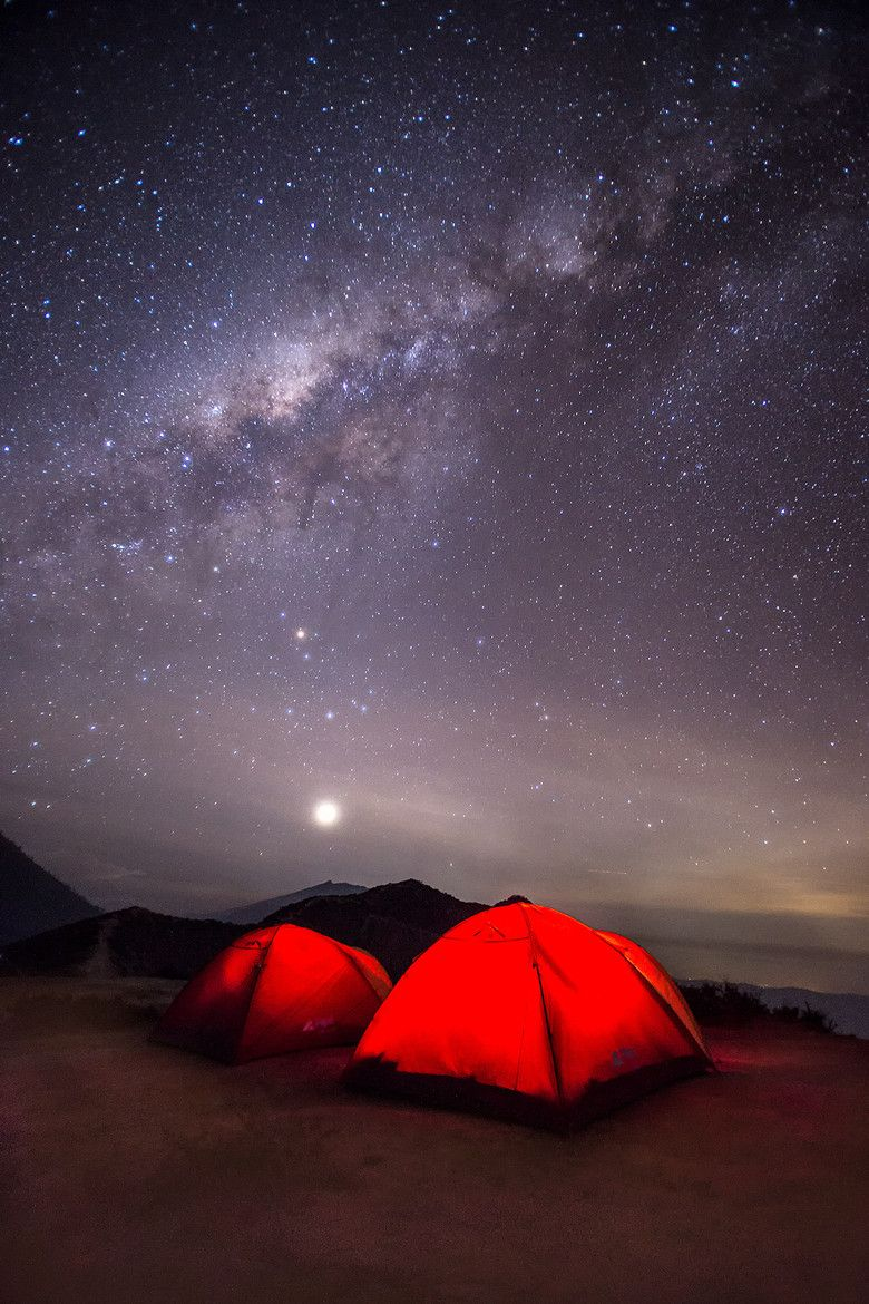 Milky Way And Red Tents Outdoor Camping Experience Camping