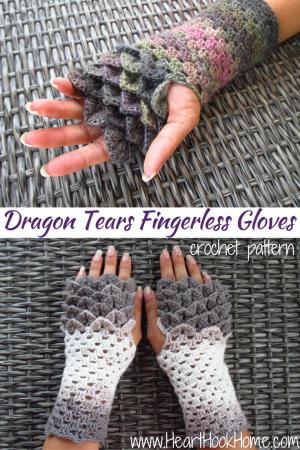Dragon Tears Fingerless Gloves Crochet Pattern Fingerless Gloves