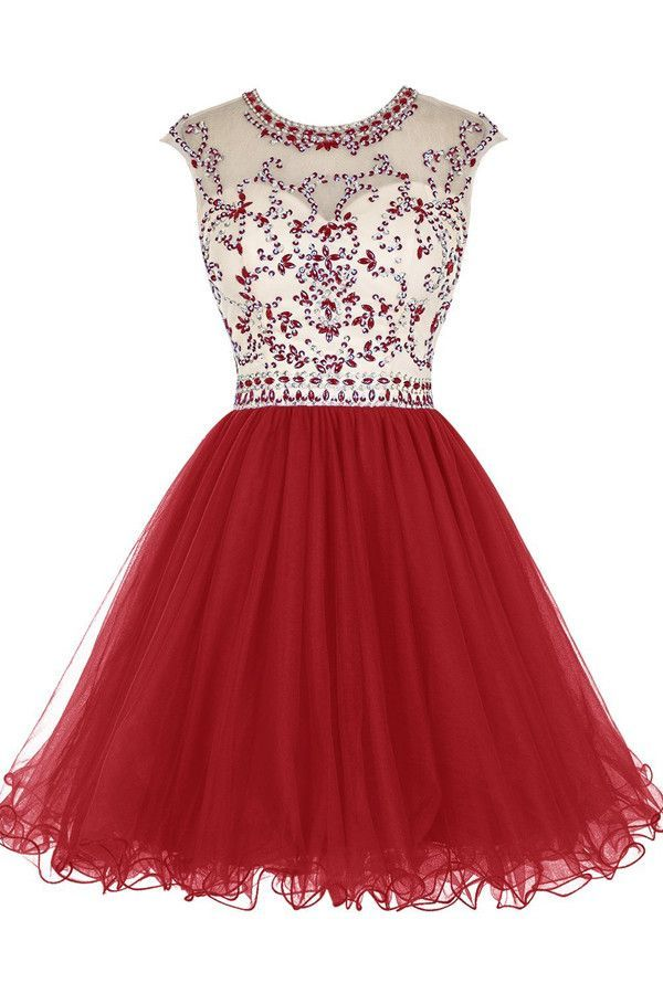 Short Beading Tulle Homecoming Dresses Prom Dresses PG017
