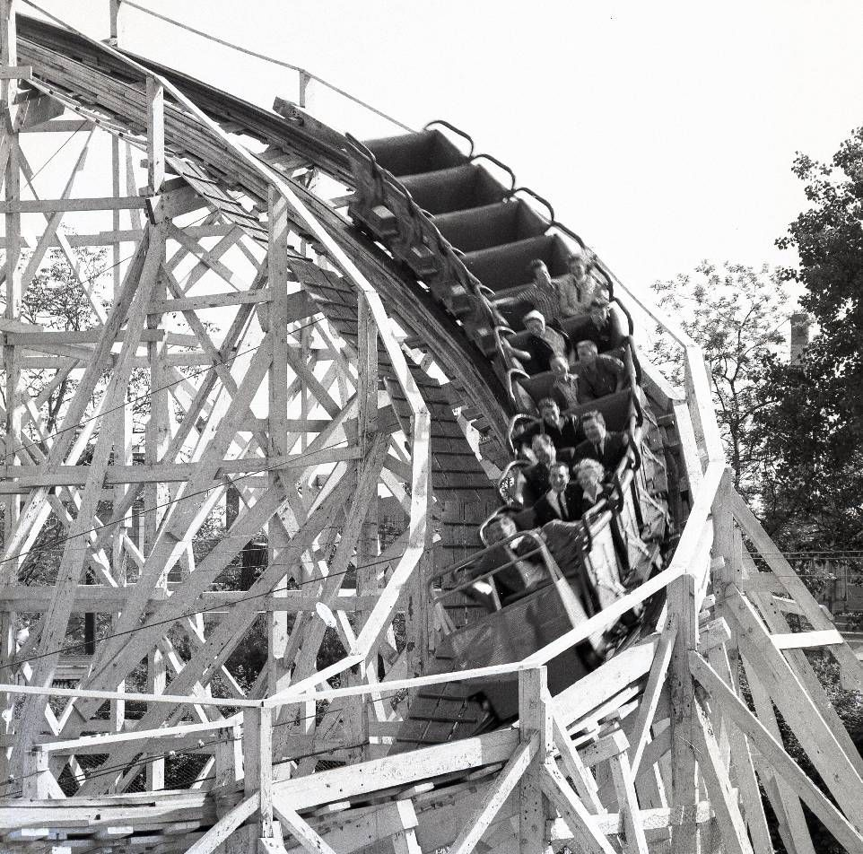 "RIVERVIEW AMUSEMENT PARK   ROLLER COASTER ""THE BOBS"" THEN THE MOST DARING ROLLER COASTER, 1960"