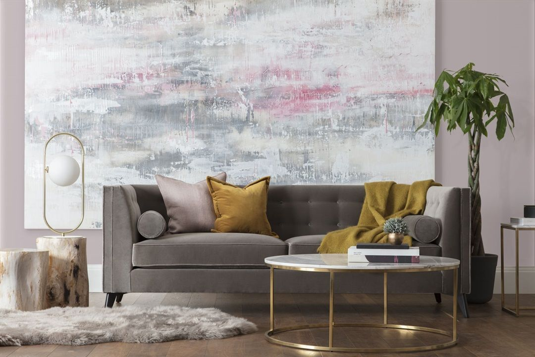 Chic Taupe Grey Living Room Design Tufted Taupe Velvet Sofa Brass Round Table Gray Living Room Design Velvet Sofa Living Room Living Room Designs
