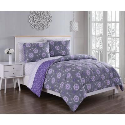 Geneva Home Fashion Britt 7 Piece Purple Grey Queen Bed In A Bag