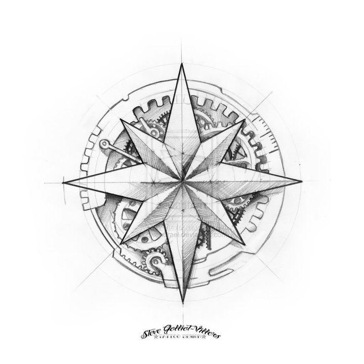 Steampunk Compass Rose Tattoo | часики | Pinterest | Compass rose ...