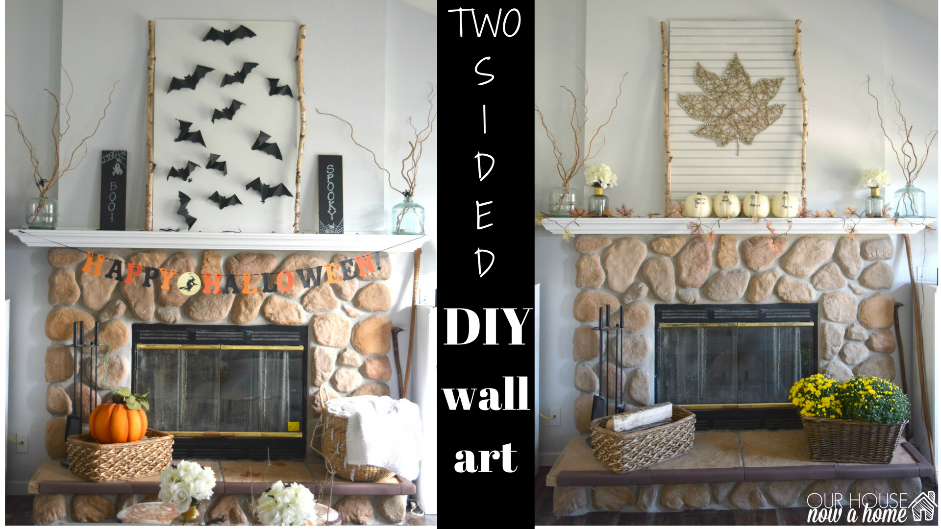 Leaf String And Bat Wall Art A Two For One Fall Decor With This Sided Idea Easy To Create Set Up Enjoy Then Put In Storage Diy
