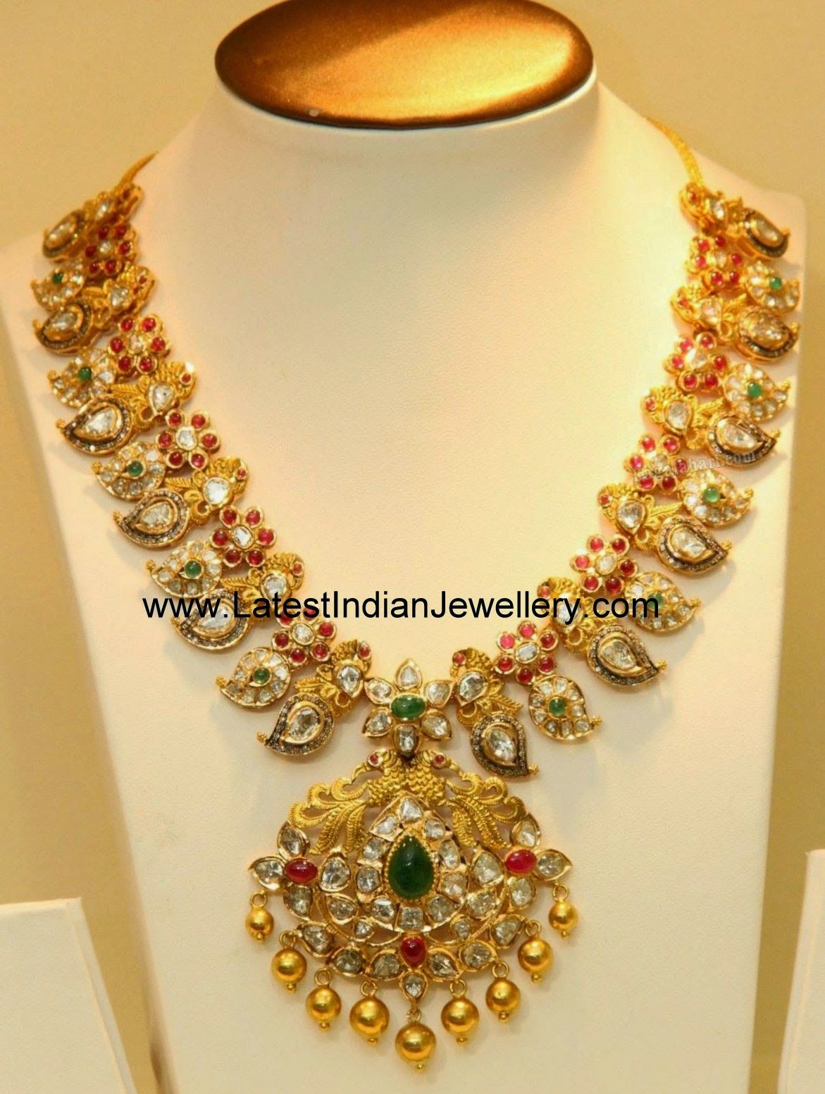 Latest gold necklace designs in grams pachi necklace latest jewellery - Pachi Work Mango Haram