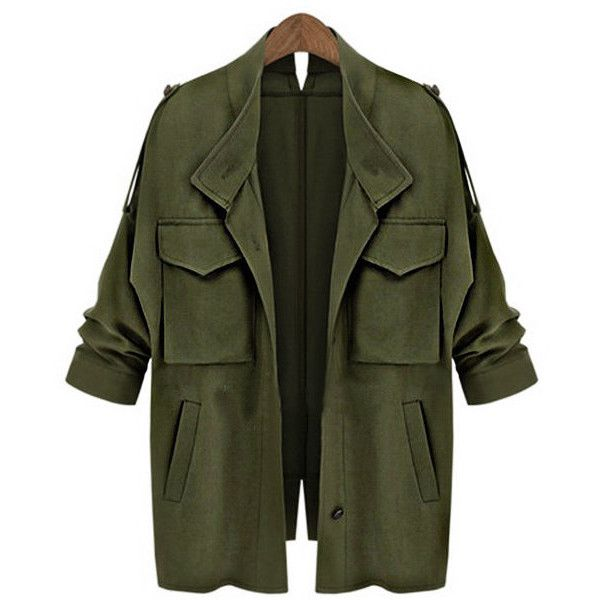 Yoins Army Green Loose Fit Trench Outwear (€35) ❤ liked on Polyvore featuring outerwear, coats, jackets, casacos, green, olive green trench coat, green coat, button trench coat, olive coat and button coat