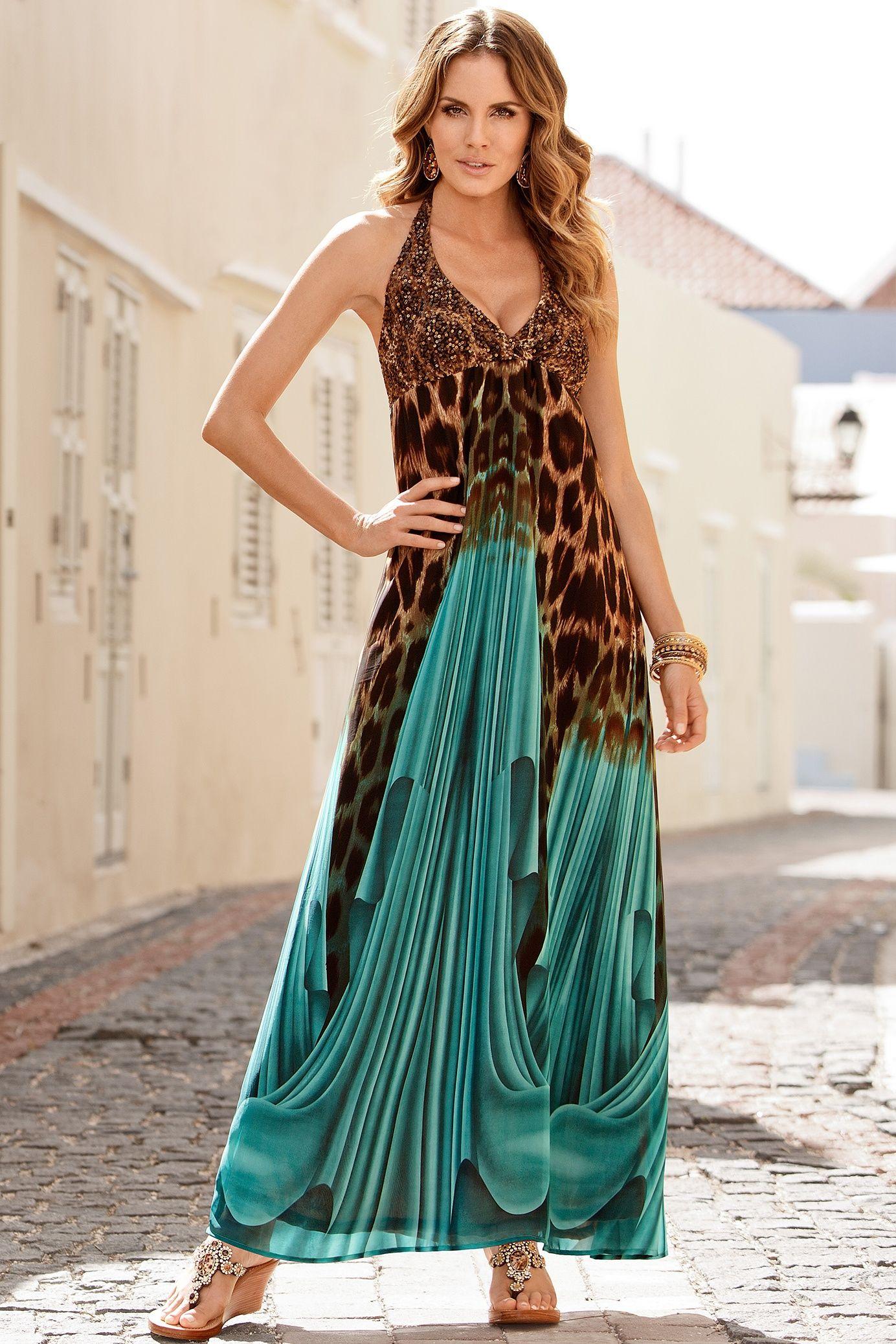 Boston Proper Sequin animal halter maxi dress # ...