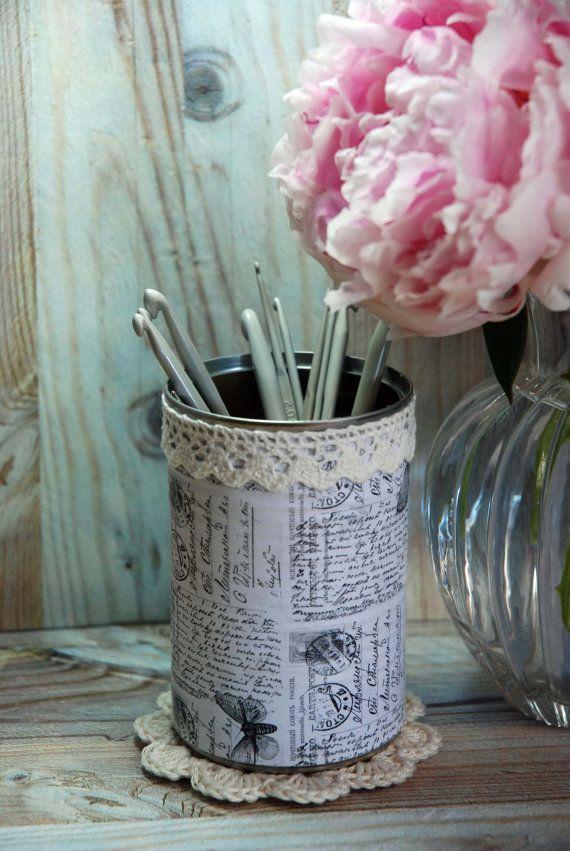 Vintage Shabby Chic Style Tin Desk Organizer with your choice of Doily & Tiny Tin