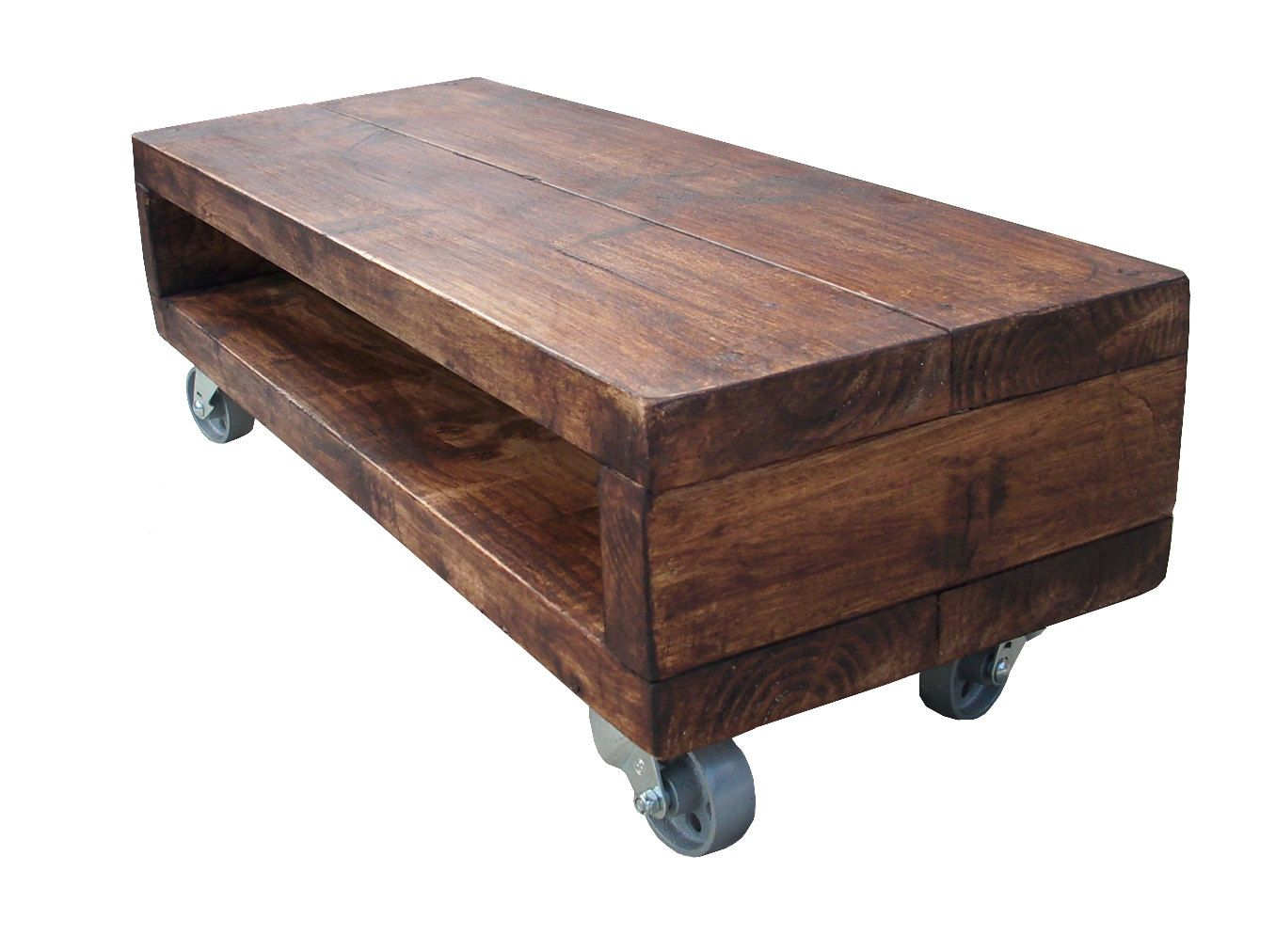 Industrial style rustic coffee table / Tv stand cherry wood finish with  cast industrial swivel wheels