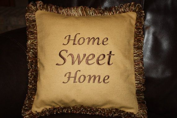 Home Sweet Home Embroidered Pillow 14 Square by SeamsDivine, $59.00