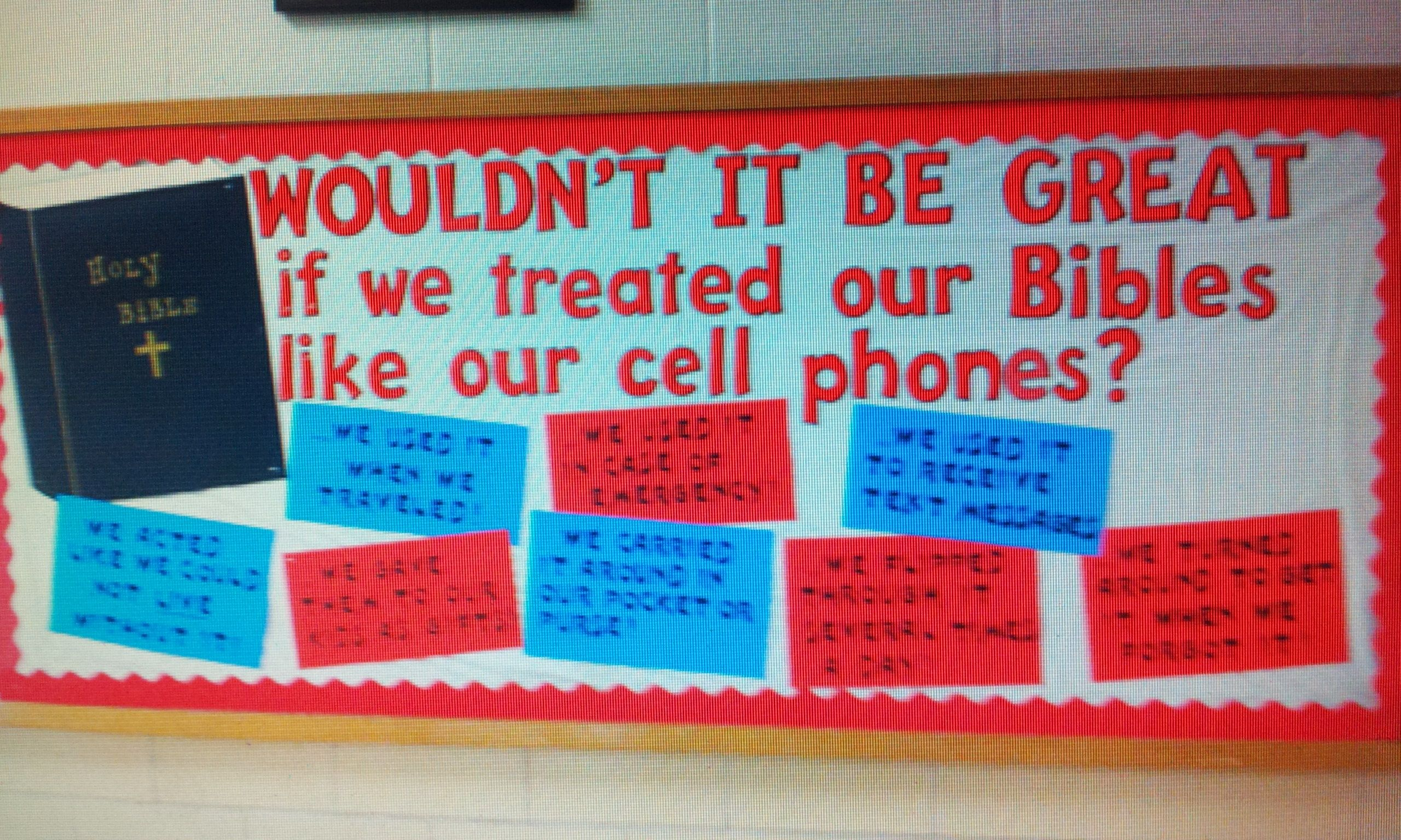 High School Christian Board Cell Phone Vs Bibles Teacher