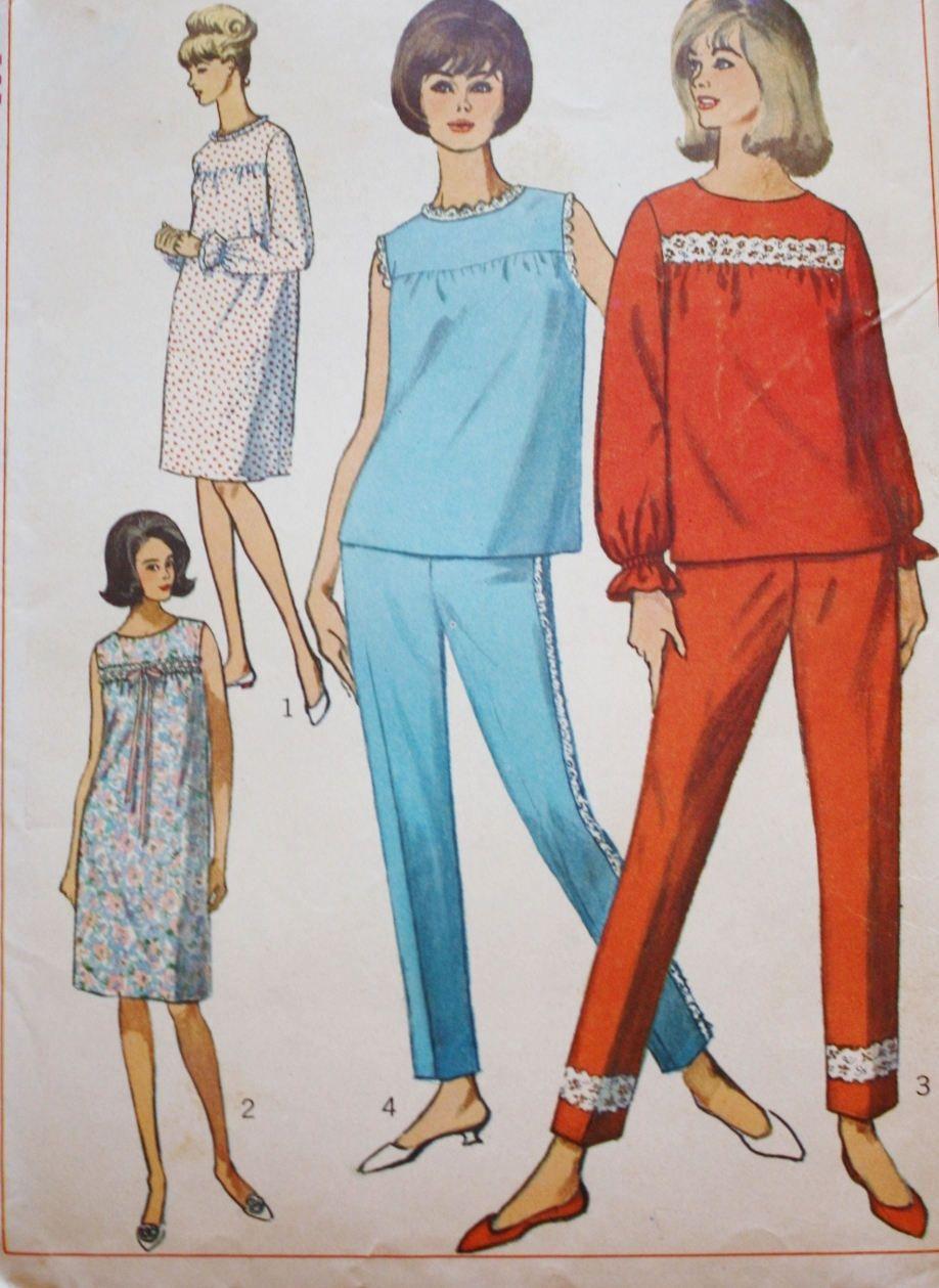 1960s Simplicity 6277 / Sleepwear /Pajamas and Nightie /Bust 31 ...