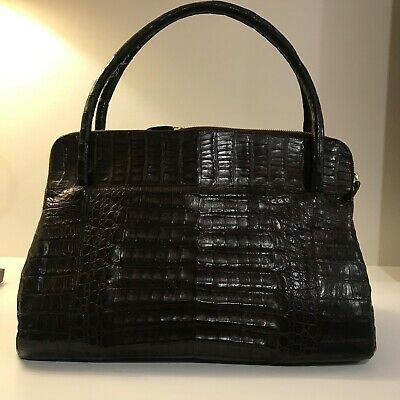 Nancy Gonzalez dark brown crocodile Linda bag excellent used condition ebay link