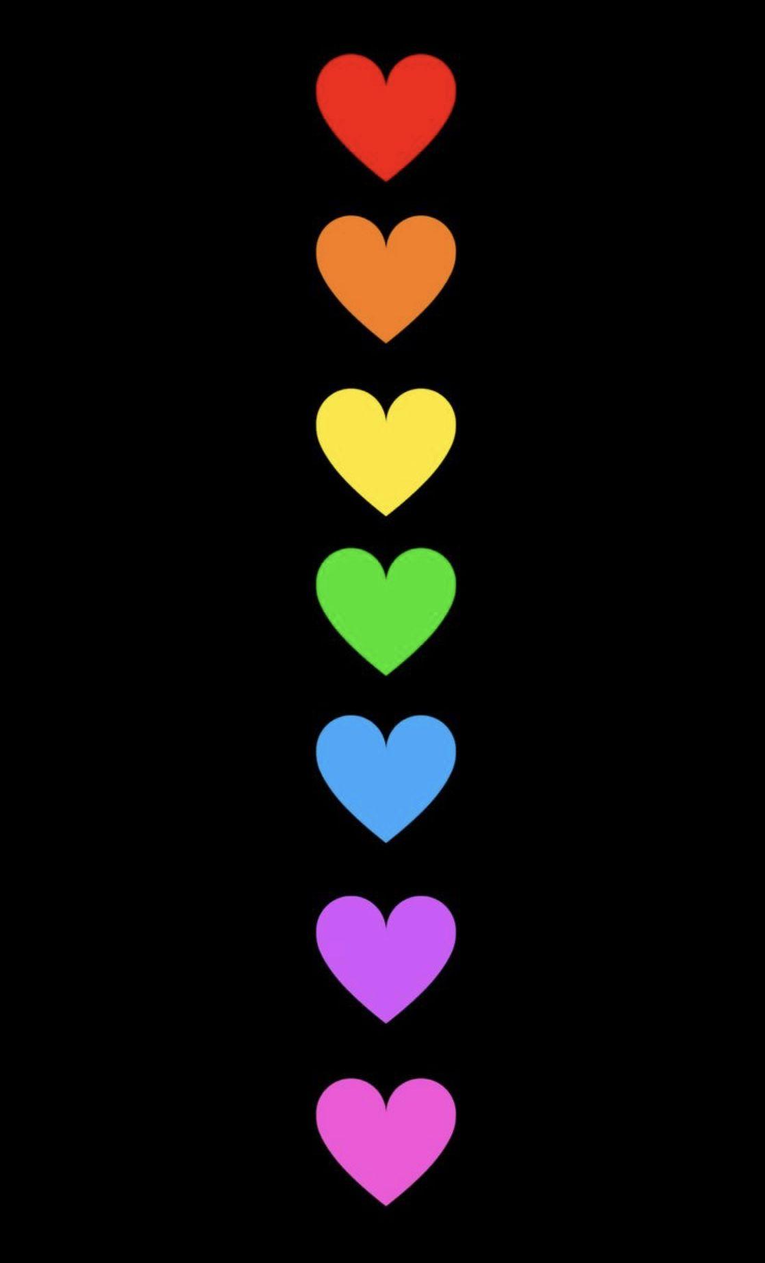 Wallpaper Rainbow Heart Black Background