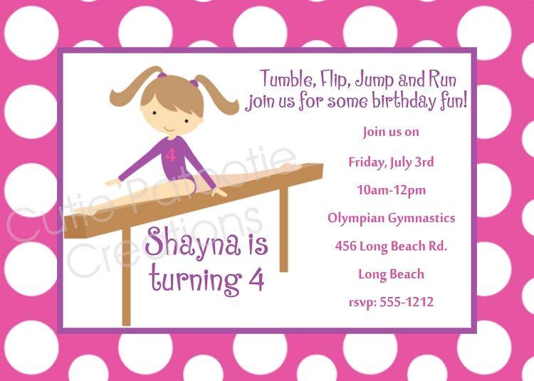 Girls Gymnastics Birthday Party Invitations Printable Or Gymnastics Birthday Invitations Birthday Party Invitation Templates Birthday Party Invitations Printable