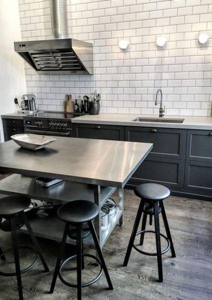 32+ Ideas Kitchen Industrial Style Island Stainless Steel