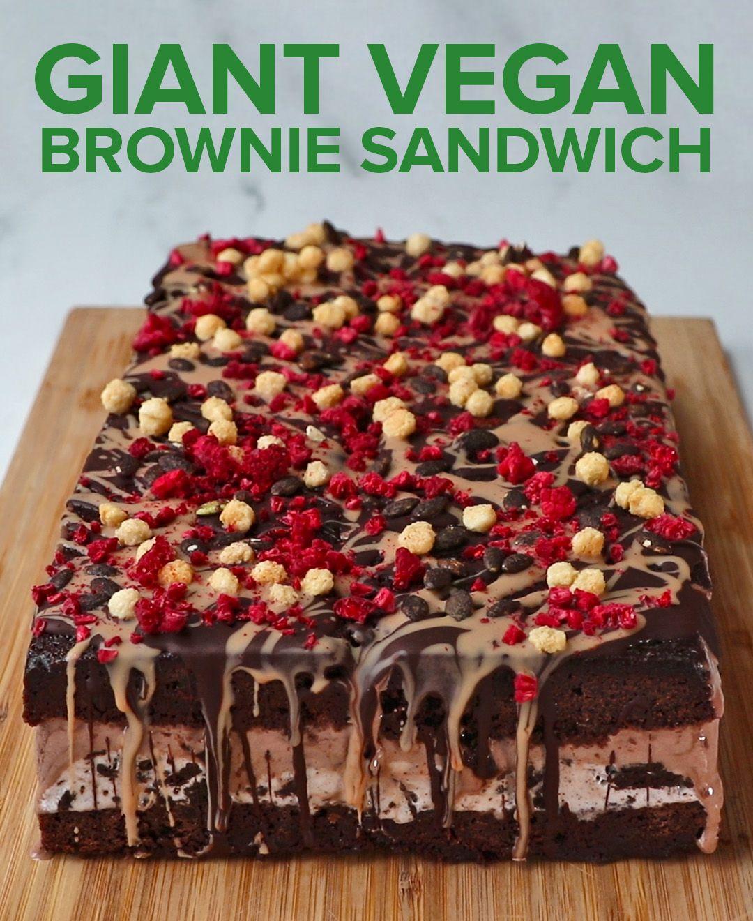 Giant Vegan Brownie Sandwich In 2020 Vegan Brownie Vegan Desserts Healthy Sweets