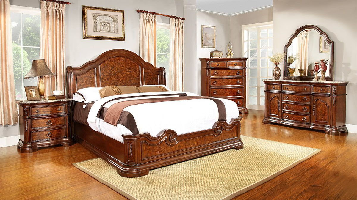 Lifestyle Furniture B2258 Cherry Mansion Queen Bedroom Set High
