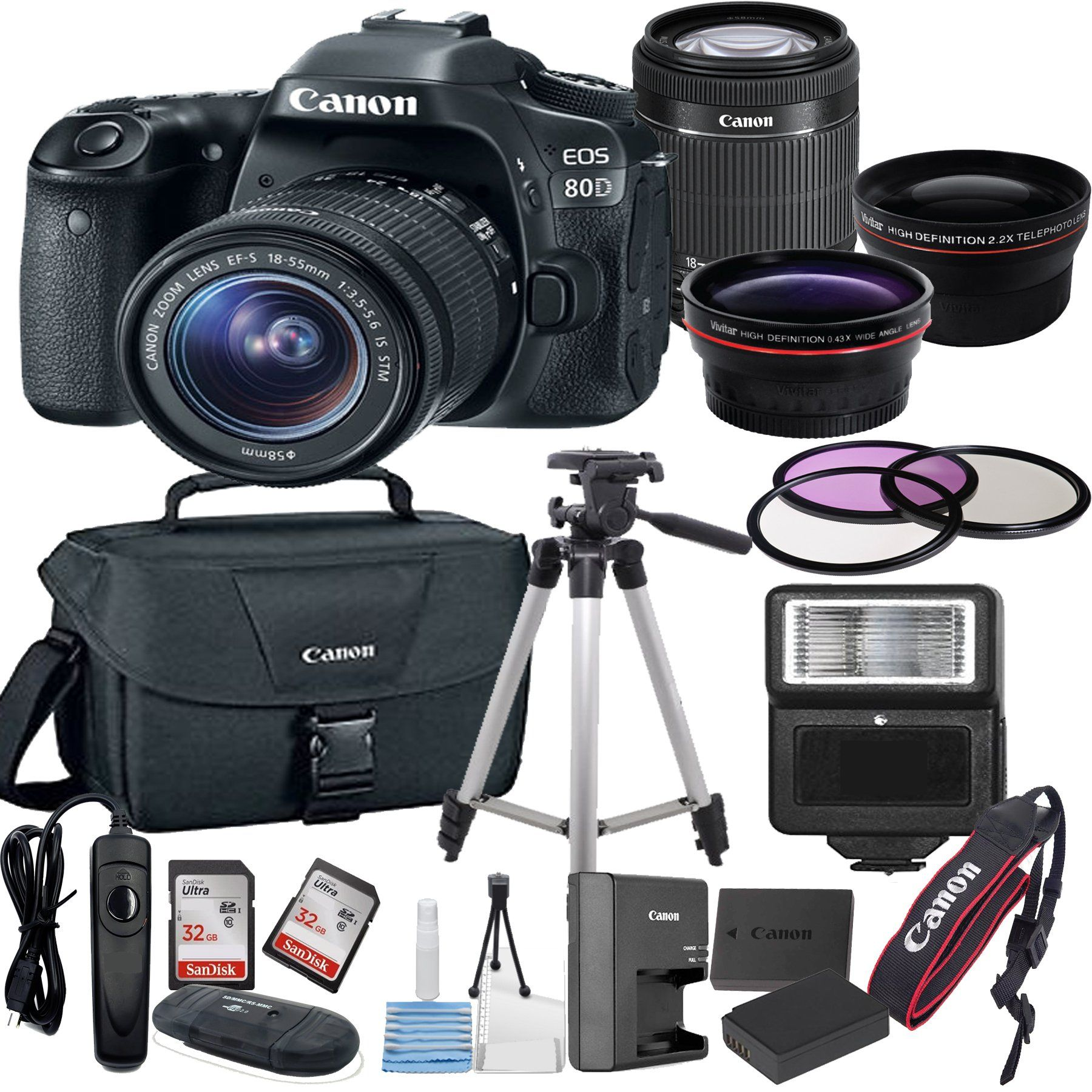 Canon EOS 80D Digital SLR Camera with EF-S 18-55mm Bundle includes ...