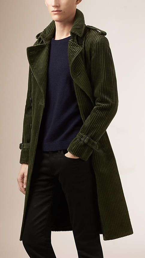 Burberry Dark Cedar Green Corduroy Trench Coat - A slim fit double-breasted trench  coat in jumbo cord. Referencing heritage outerwear, the unlined design is  ... 55bda6a7259e