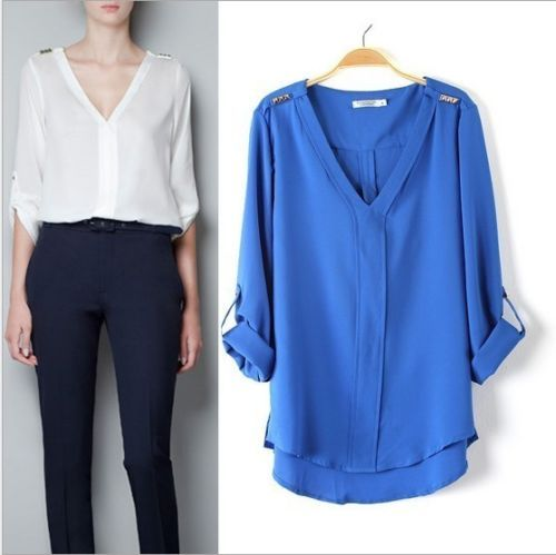 2013 Fall Brand ZA** Long Sleeve V-neck Blouse Women Fashion Chiffon Tops Shirts