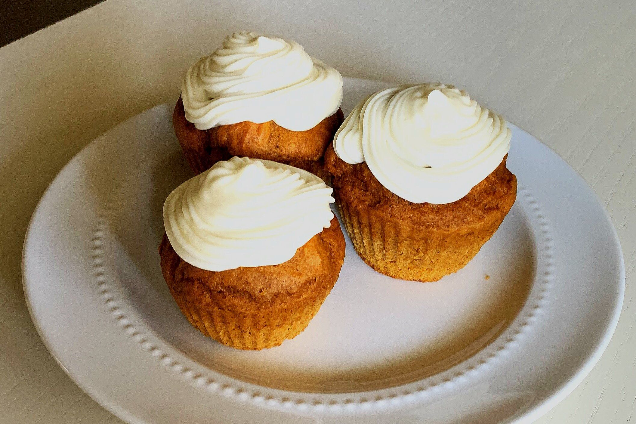 Pumpkin muffins with cream cheese icing  #pumpkinspicecupcakes