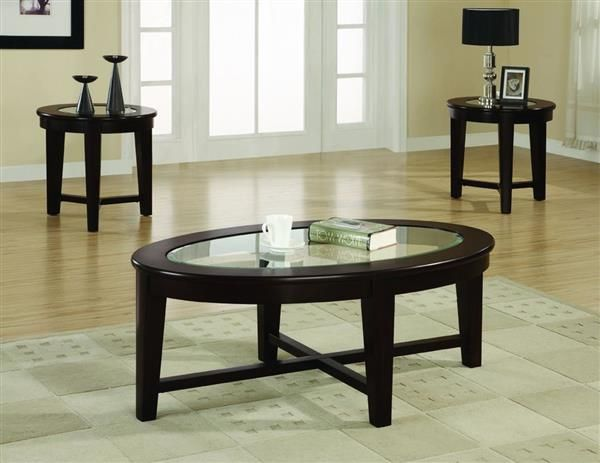 Coaster Furniture Cappuccino Wood Oval 3pc Coffee Table Set Living Room Table Sets Simple Coffee Table Cheap End Tables