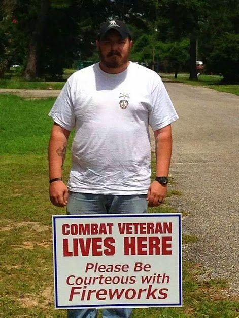 To a soldier/veteran with PTSD, nightmares, stress and anxiety, large fireworks sound an awful lot like cannons/bombs. Smaller fireworks that explode in rapid succession can sound like rifle fire. People cheering can sound like people screaming. The flashing lights can remind them of explosions at night. Remember this when use fireworks, ESPECIALLY if you know a veteran lives nearby.