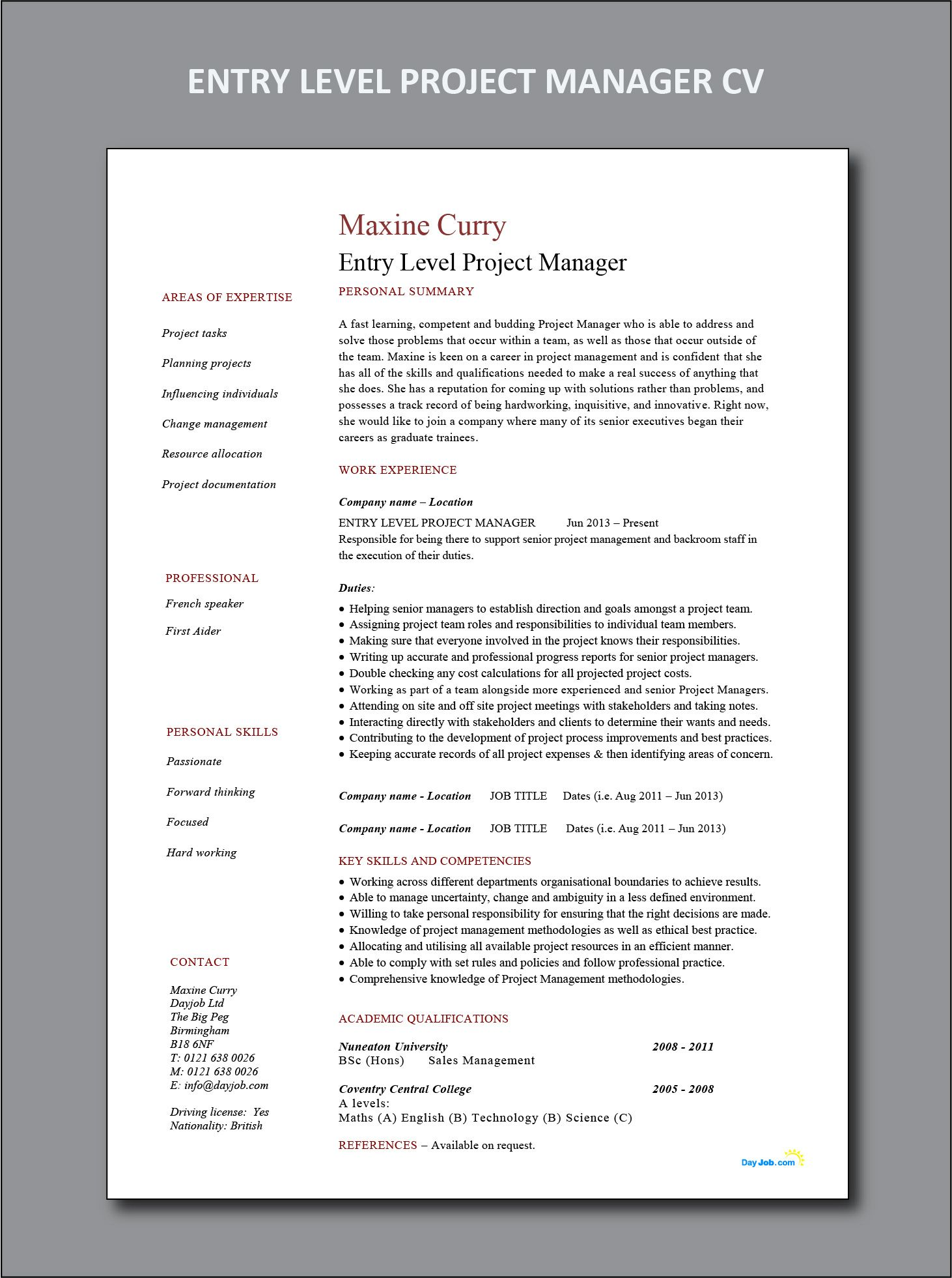 Entry Level Project Manager CV and resume example | Project ...
