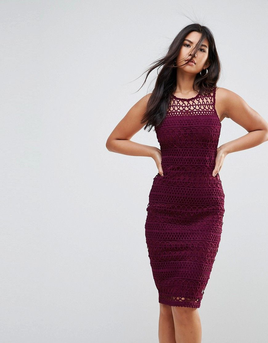 Ax Paris Crochet Lace Midi Dress With Scuba Back - Purple | Lace ...