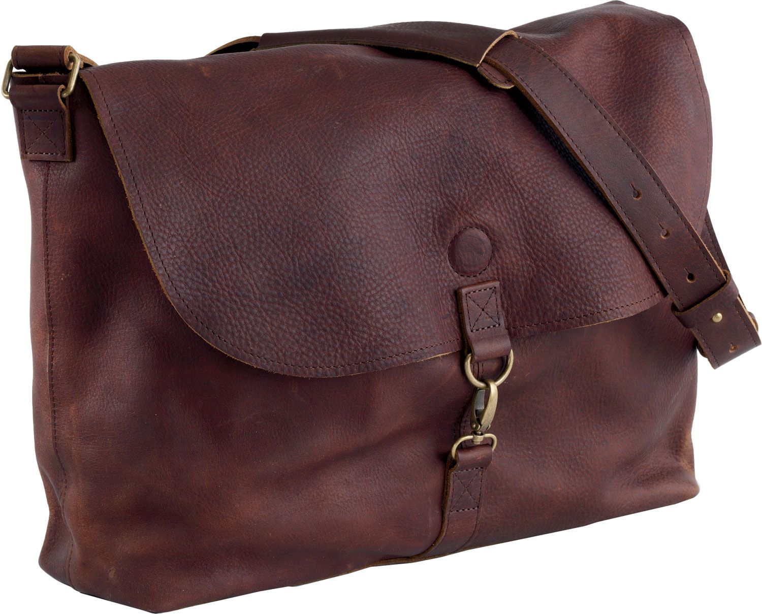 Lifetime Leather, only from Duluth Trading Co. I am obsessed with this bag and the color Cognac!!
