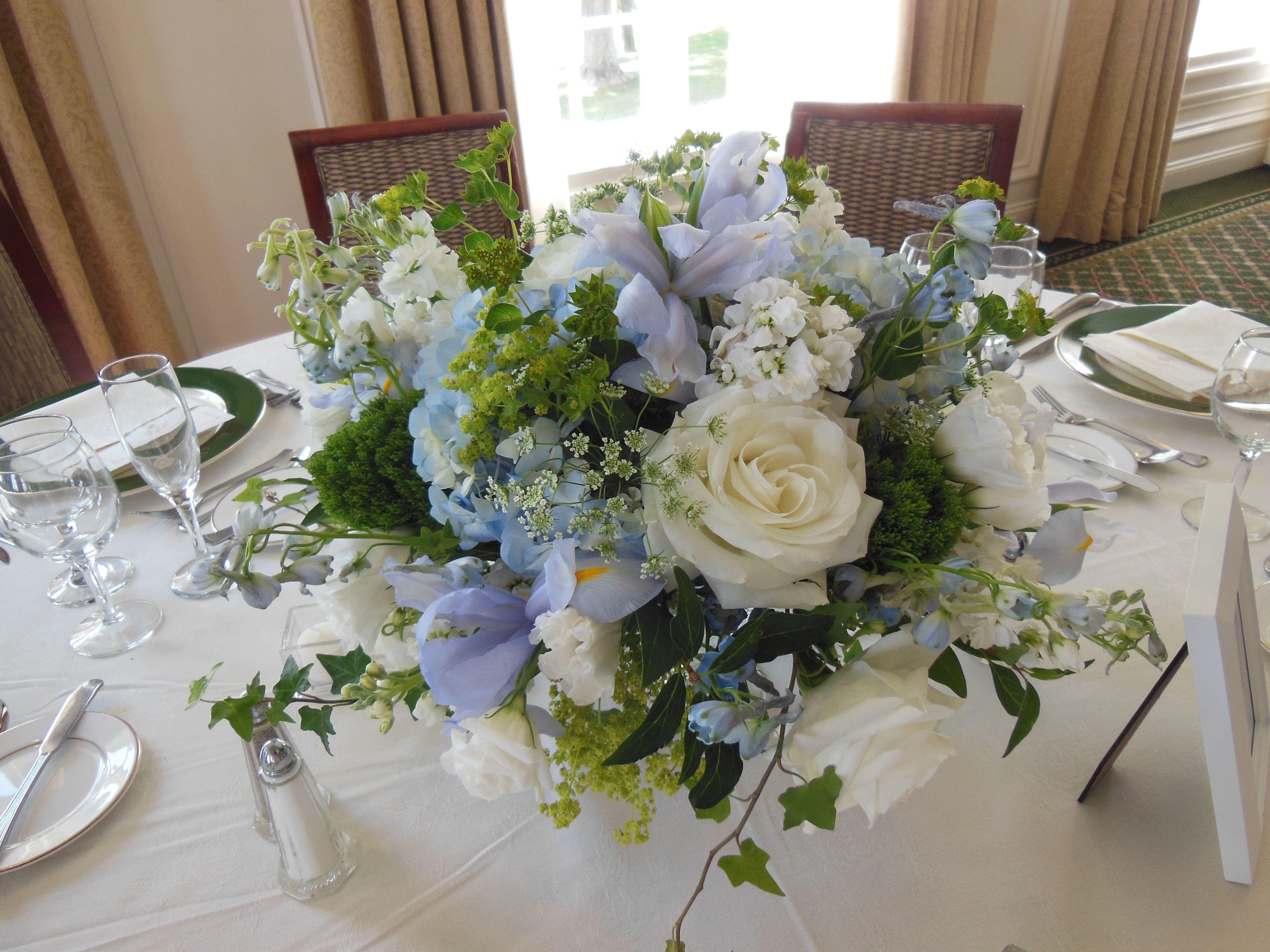 Wedding Reception Flowers Bedford Village Florist Westchester New York Blue And White Wedding Reception Flowers Spring Wedding Flowers Blue Centerpieces