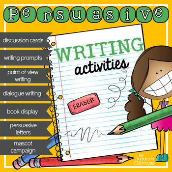 The Persuasive Writing Unit is an entire unit including writing activities, prompt cards, discussion cards, banners and more! (Includes 10 files below) 1) Take a Stand! Persuasive Writing Discussion Cards: In this activity students select one choice shown on the card and provide two reasons to support their