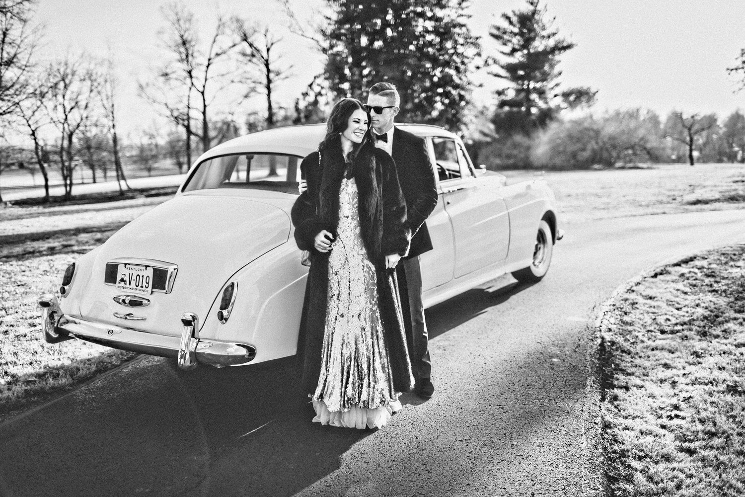 Engagement Photos, Black Tie, Sequin Dress, Old Hollywood Engagement Photos, Rent the Runway, Vintage Chanel