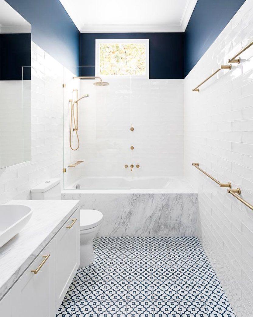 Minimalism Design Style On Instagram Navy Blue And White Bathroom Bathroom Interior Design Bathroom Renovation Diy Diy Bathroom Remodel