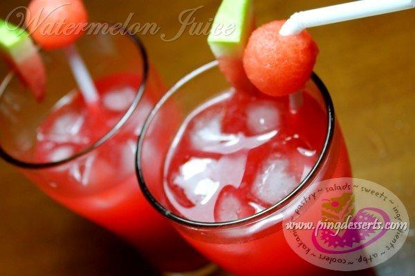 Watermelon Juice Recipe http://www.pingdesserts.com/watermelon-juice-recipe/