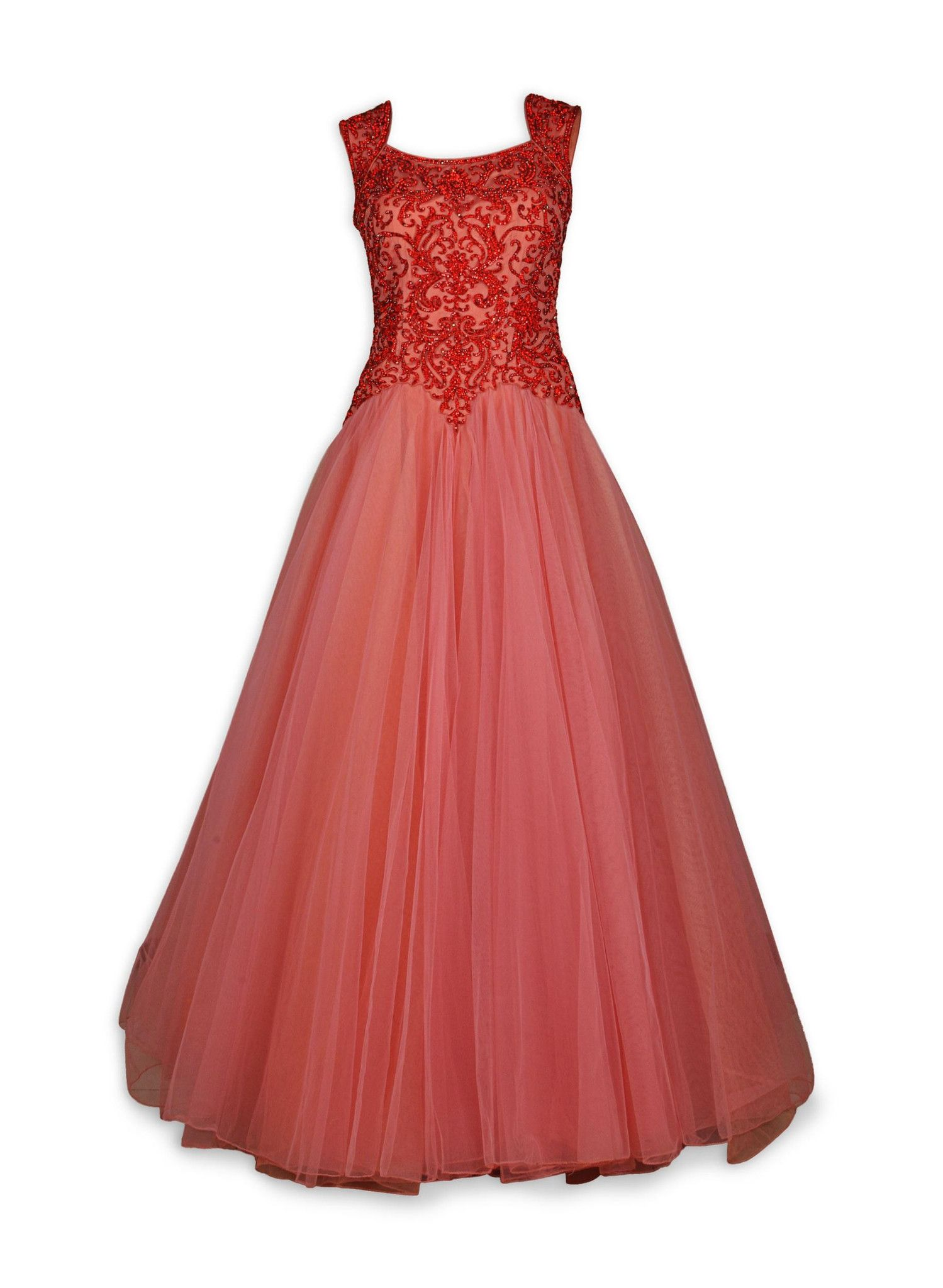 Coral color Indo Western Gown | Vestiditos