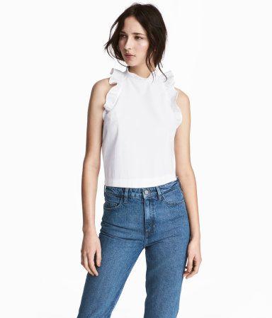 1dfec7f18abb Ärmellose Bluse   Weiß   Damen   H M DE   April17   Pinterest ...