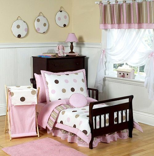 Pink Brown Polka Dot Comforter Bedding Set Kidsroomstore 89 99