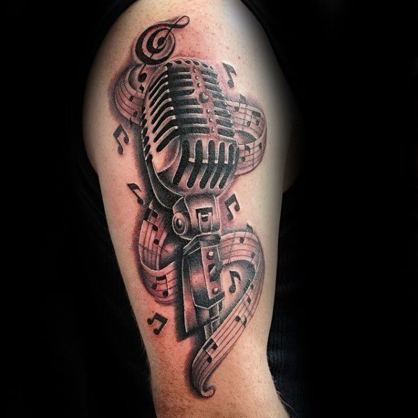 Mikrofon Musik Notes Mens Oberarm Tattoo Ideen Tattoos