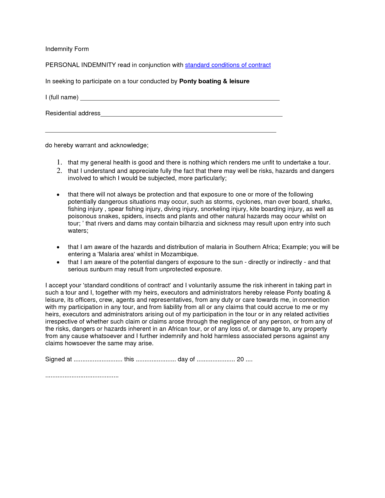 Indemnity Form PERSONAL INDEMNITY read in conjunction with by – Sample of Indemnity Form