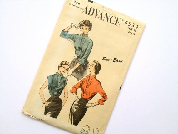 Vintage 50s Blouse Sewing Pattern Advance 6534