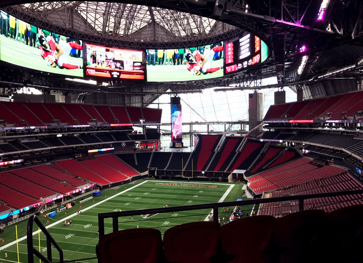 Days Away From Opening Here S What Mercedes Benz Stadium Looks Like Now Mercedes Benz Benz Stadium