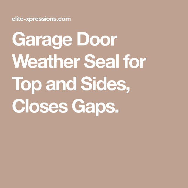 Proseal Garage Door Top And Side Seal One Car Garage Kit Garage Doors Garage Door Weather Seal Garage Kits