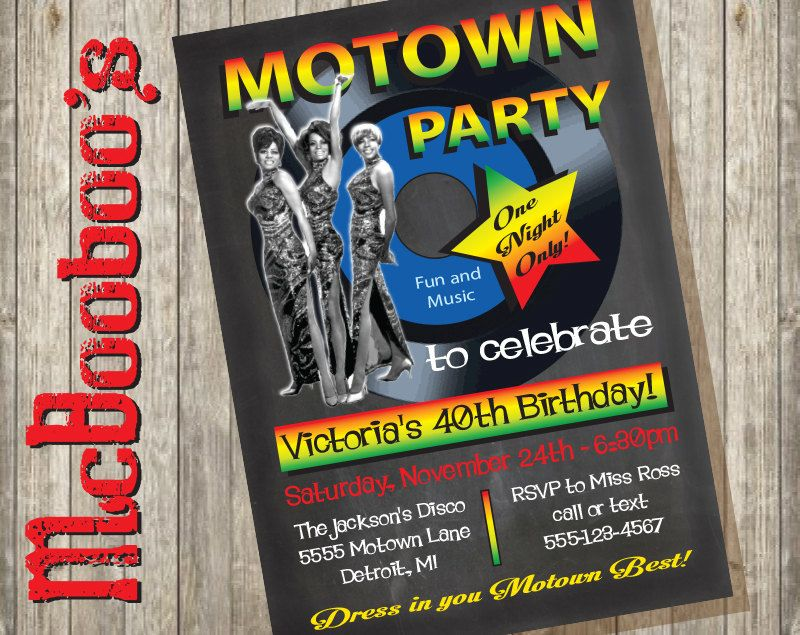 Motown 60's/ 70's Music Record Party invitations on a