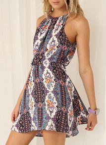 White Spaghetti Strap Tribal Print Dress