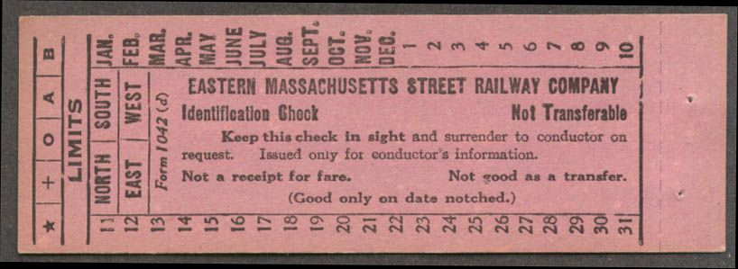 Identification check from Eastern Massachusetts Street Rwy.
