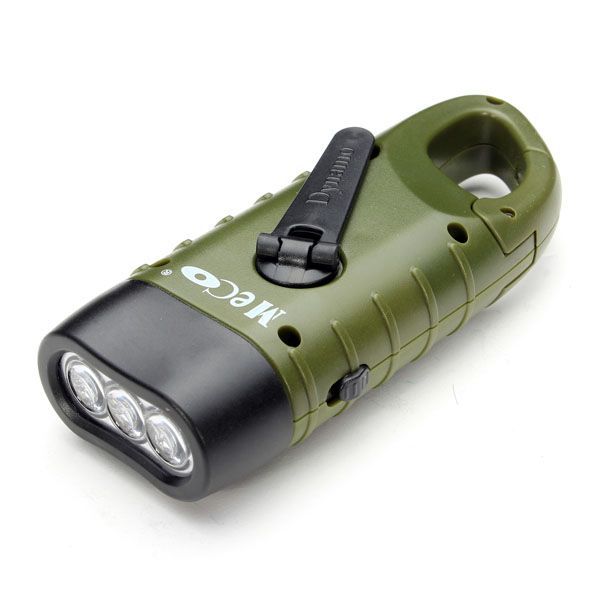 Meco Hand Crank Solar Energy Led Flashlight For Camping Hiking Banggood