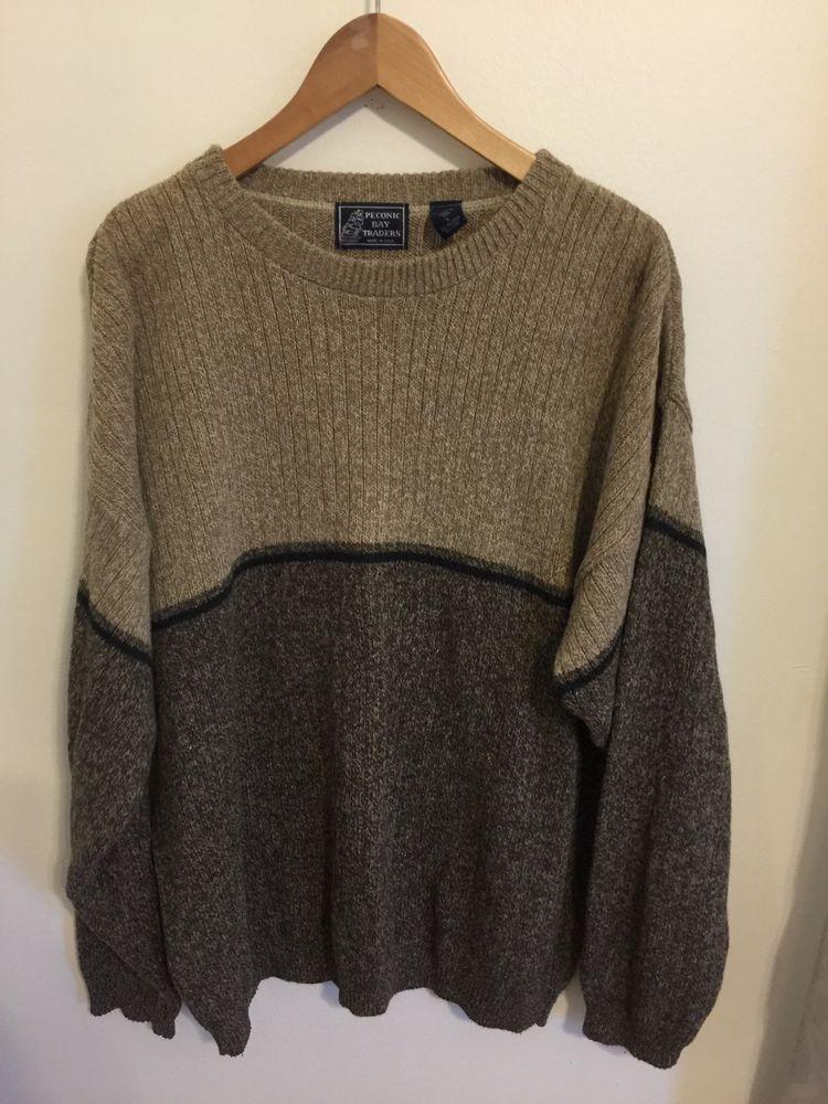 Peconic Bay Traders Beige Cottonacrylic Large Sweater Made In Usa