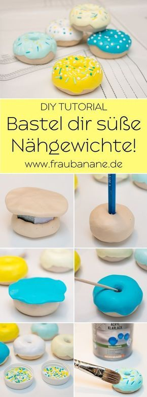 {Instructions} Donut sewing weights made of polymer clay – banana